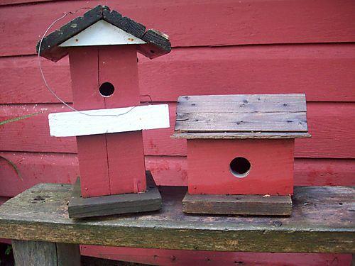 Red birdhouses