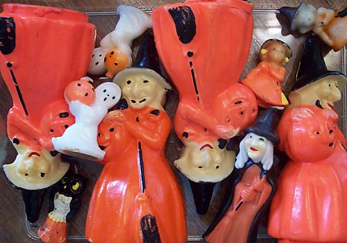 Halloween candles in storage
