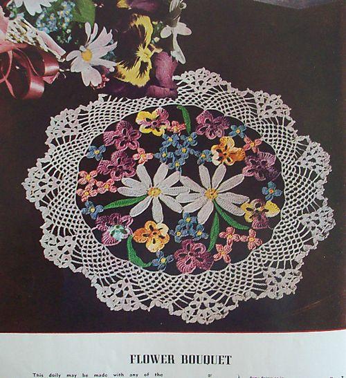 Flower bouquet doily