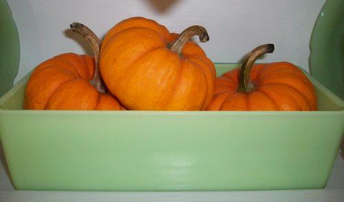 Pumpkins in pan