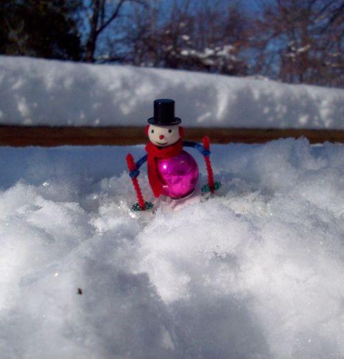 Snowman starting down