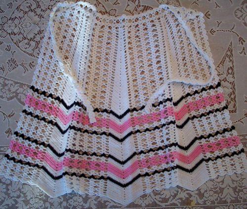 Pink crochet apron