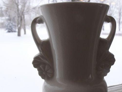 White vase handle